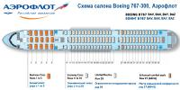 Боинг 767-300 схема салона Boeing 767-300 Аэрофлот BAV, BAX, BAY, BAZ
